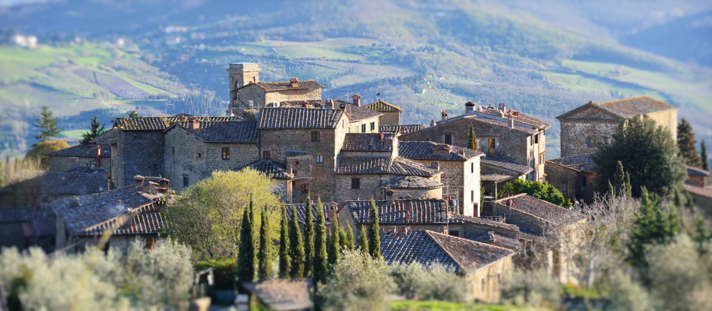 An aerial view of Radda in Chianti from near our Tuscan villa rental